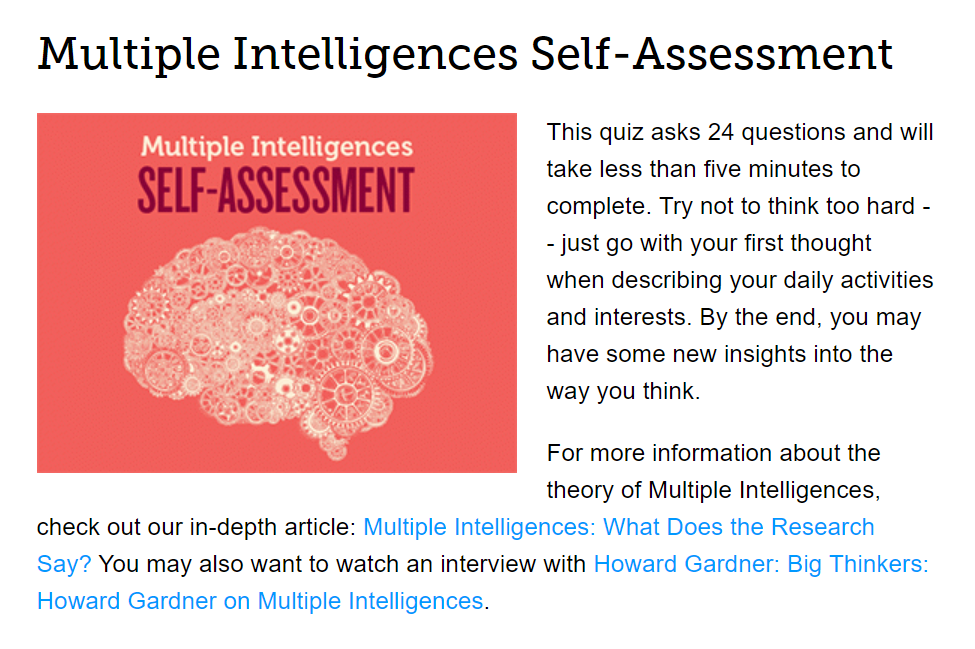 Edutopia Multiple Intelligence Self Assessment